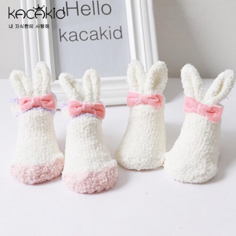 曈曈Baby 凹 珊瑚絨小兔長耳朵嬰兒襪女童甜美可愛加厚保暖防滑小短襪