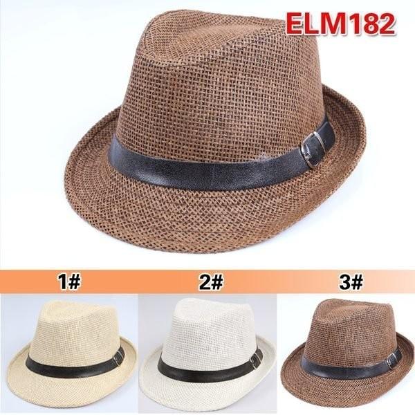媽咪樂 通風遮陽帽皮帶 編織草帽牛仔帽圓盤帽頭圍52cm