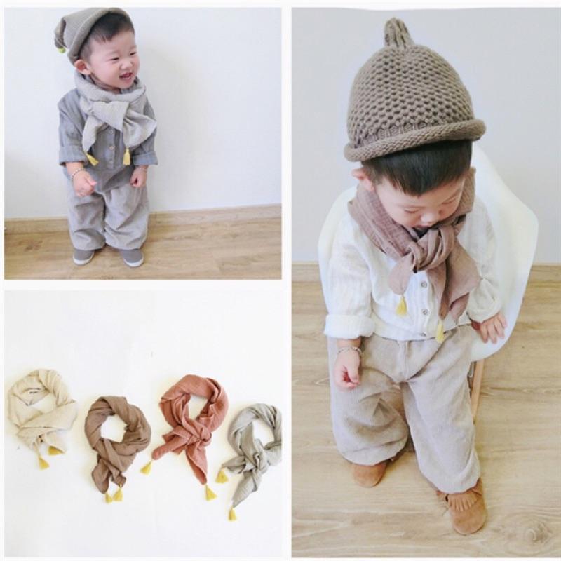 男童女童兒童寶寶小童流蘇棉麻圍巾圍脖