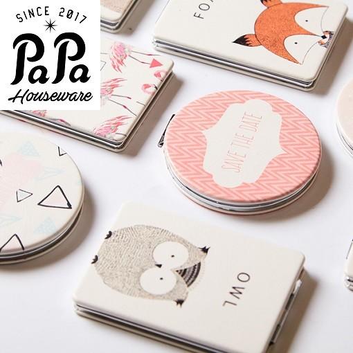 PaPa 家居部分 韓國PU 鏡 女士隨身梳妝化妝鏡迷你便攜折疊小鏡子雙面鏡小號