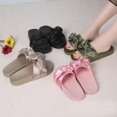 蝴蝶結外穿女拖鞋一字平底厚底沙灘涼拖一字拖涼鞋男女款韓妞 沙灘鞋洞洞鞋韓國