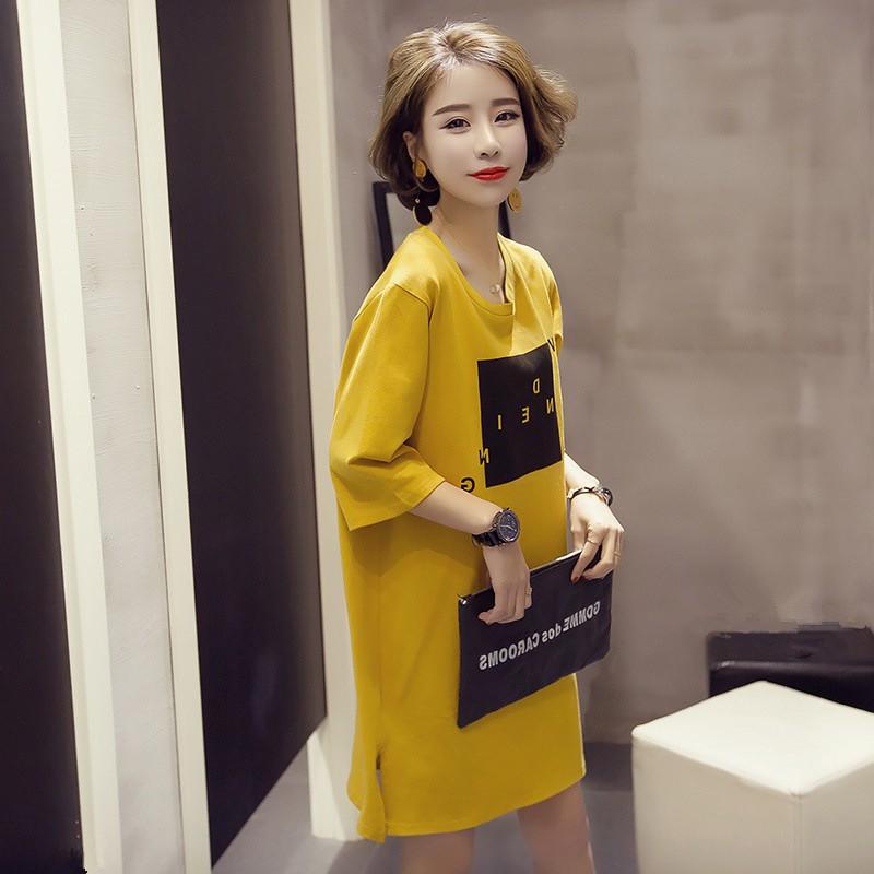 M 3XL 正韓洋裝連身裙加大 半袖t 恤寬鬆中長款短袖開叉連衣裙連身裙胖MM 可穿