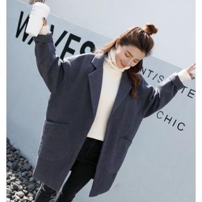 韓國中長款毛呢外套女秋  大碼學生寬鬆加厚呢子大衣潮