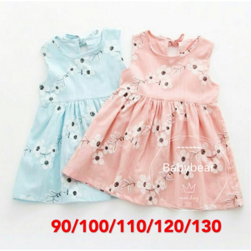 價 很好 棉麻女童洋裝薄款碎花清新無袖連身裝 兒童