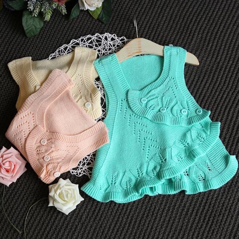 2017 女童春裝潮無袖針織衫 開衫純色背心馬甲寶寶春裝上衣