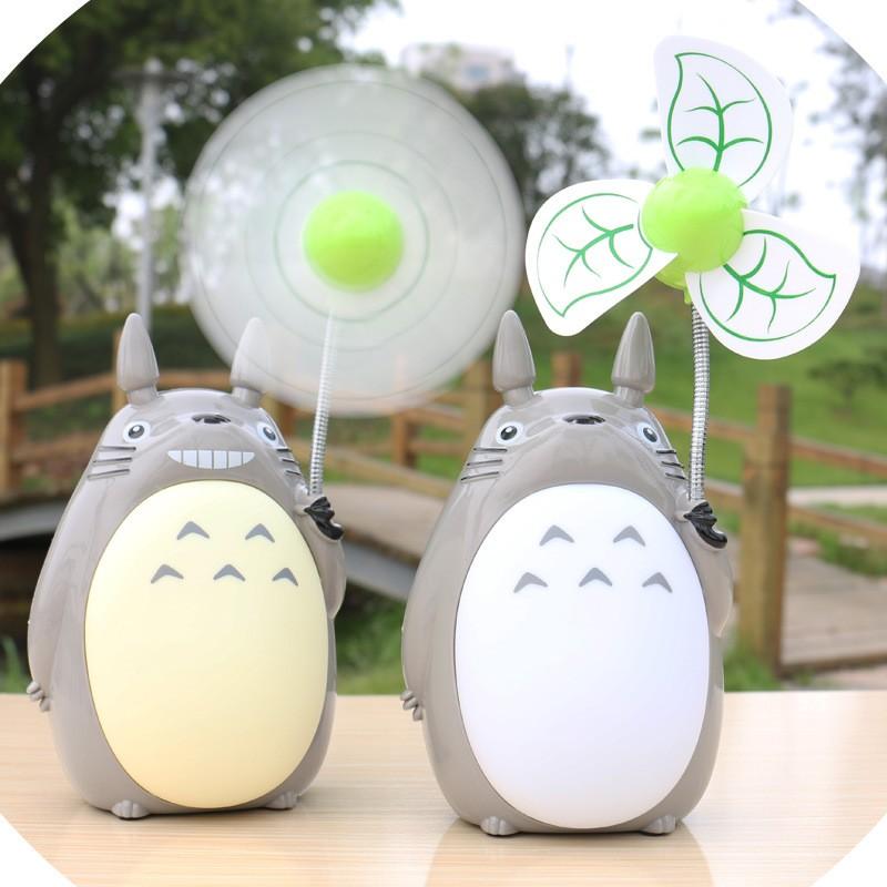 【 】龍貓usb 充電風扇多 電風扇卡通帶夜燈家用靜音軟葉風扇