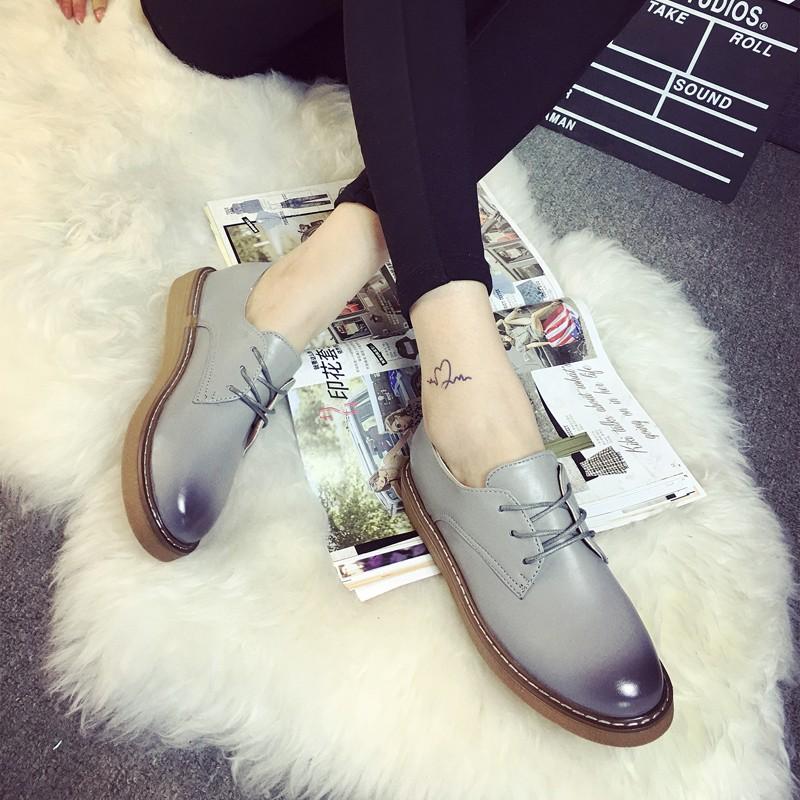 女鞋 有 2016  女鞋布洛克英倫復古牛津鞋厚底系帶單鞋學院風小皮鞋