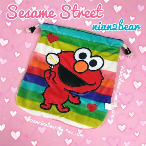 Sesame Street 芝麻街ELMO 彩色條紋束口袋抽繩拍立得包收納袋
