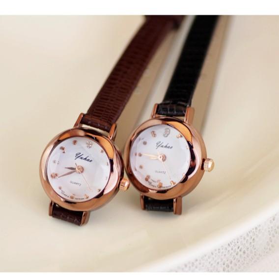 yuhao 糖果色彩色細錶鍊細帶 氣質小巧小錶盤小型小手錶 百搭女錶