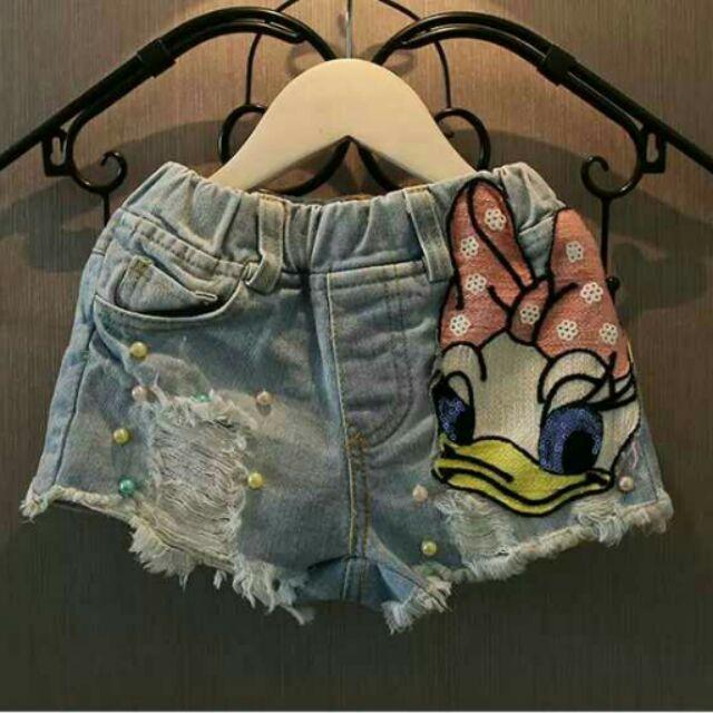 女童牛仔短褲   卡通亮片布貼牛仔短褲寶寶熱褲