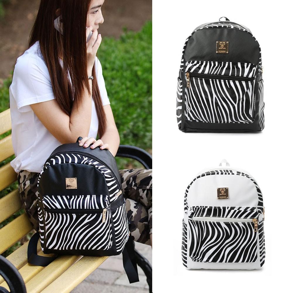 女包 背包雙肩包PU 皮 斑馬紋印花 豎款方形拉鏈開蓋大口袋裝飾