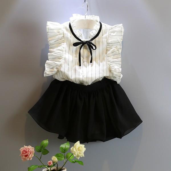 2016  女童氣質條紋襯衫甜美可愛裙褲套裝