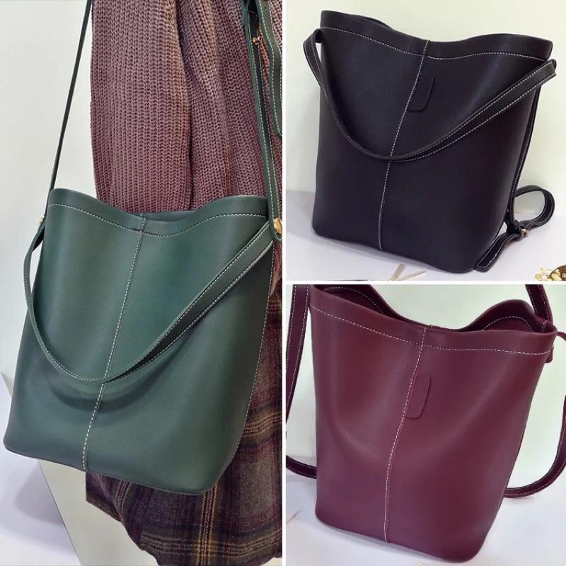 簡約大容量素色皮革子母包水桶包側背包單肩包手提包