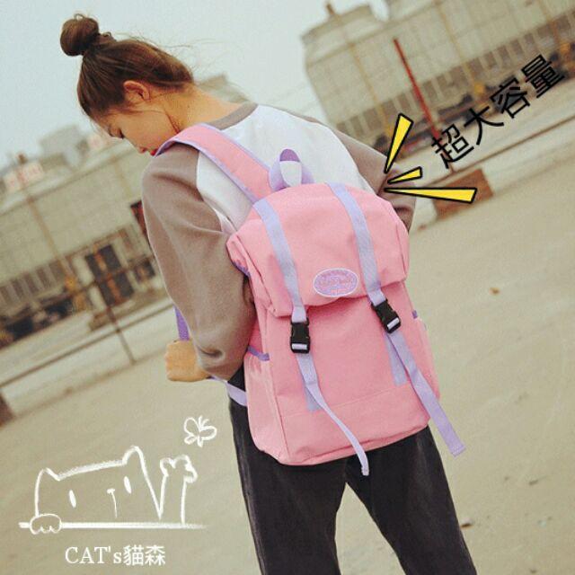 大容量背包~CAT s 貓森~火熱 英文撞色情侶大容量後背包雙肩包3 色︳臺灣自創品牌