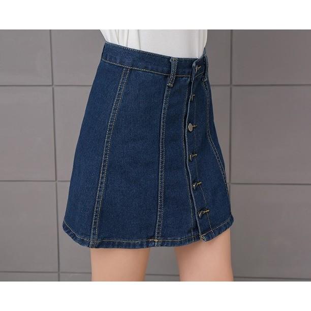 sale 會 宋慧喬同款牛仔半身裙單排扣短裙199 元