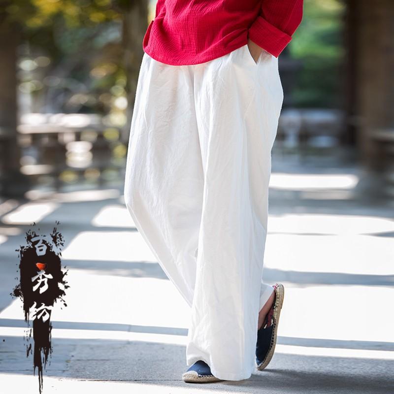 ~可糖 ~棉麻女裝 工廠原創復古艺文清新水洗縐布女式長褲闊腿褲