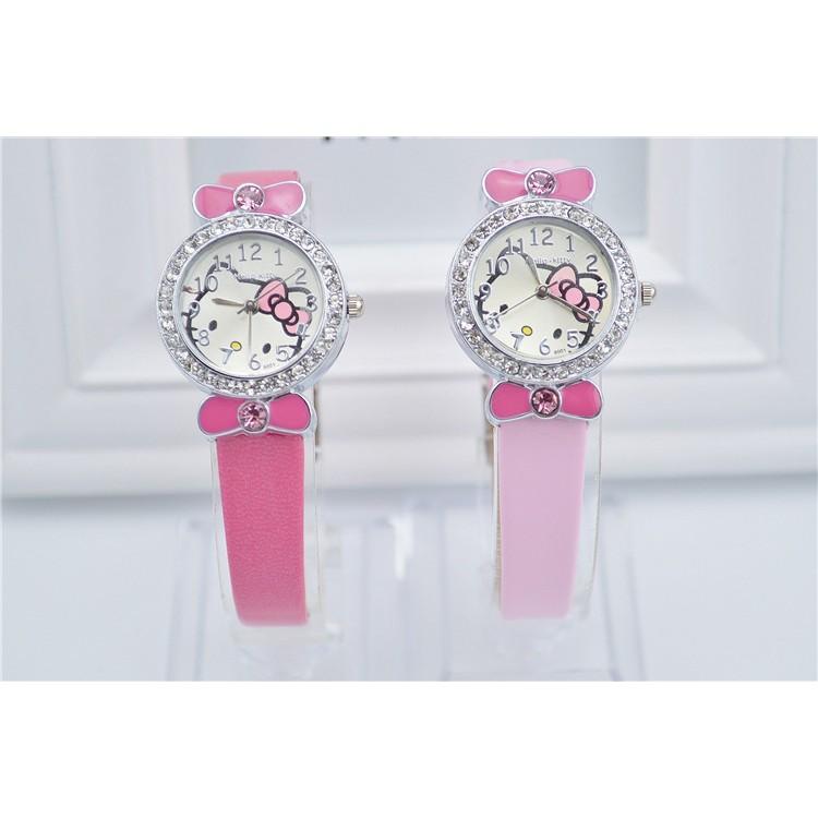Hello Kitty KT 凱蒂貓點鑽皮革手錶腕錶兒童表時裝表(廠家直銷)