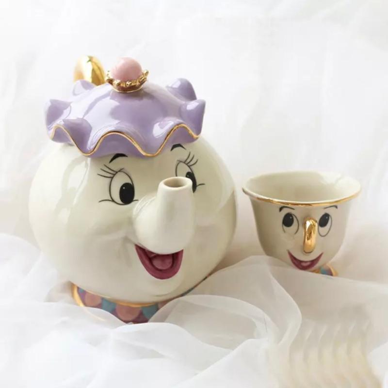 迪士尼美女與野獸茶壺太太茶杯組陶瓷珐瑯金邊
