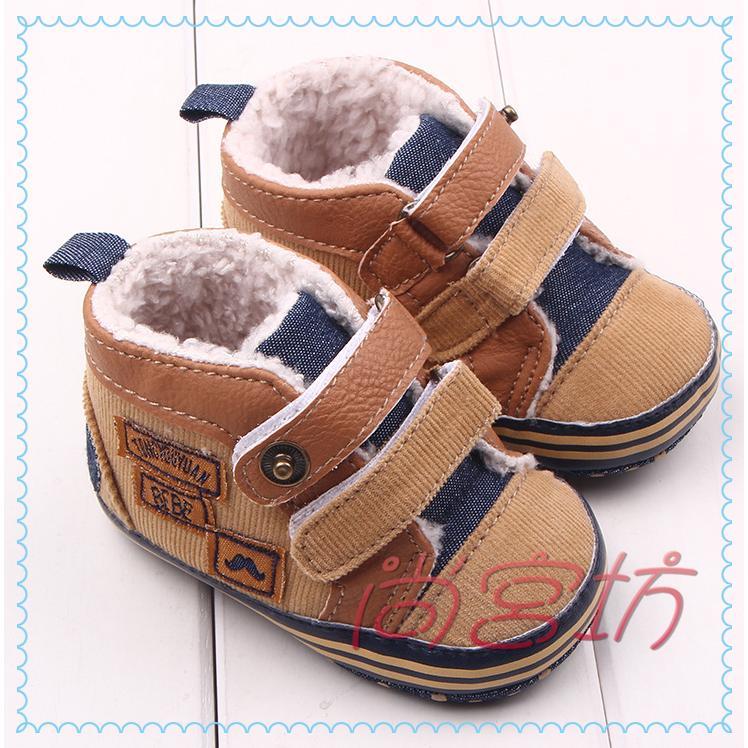 尚宮坊~ 棕色帆布拼接PU 加绒寶寶鞋學步鞋嬰兒鞋~A2225 ~