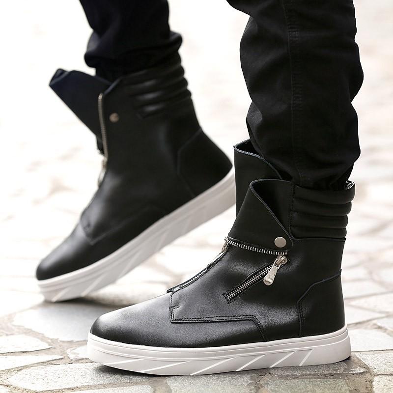 ~潮流前線~ 高筒皮靴男靴子男鞋白色馬丁靴男士高幫潮鞋圓頭 潮流短靴