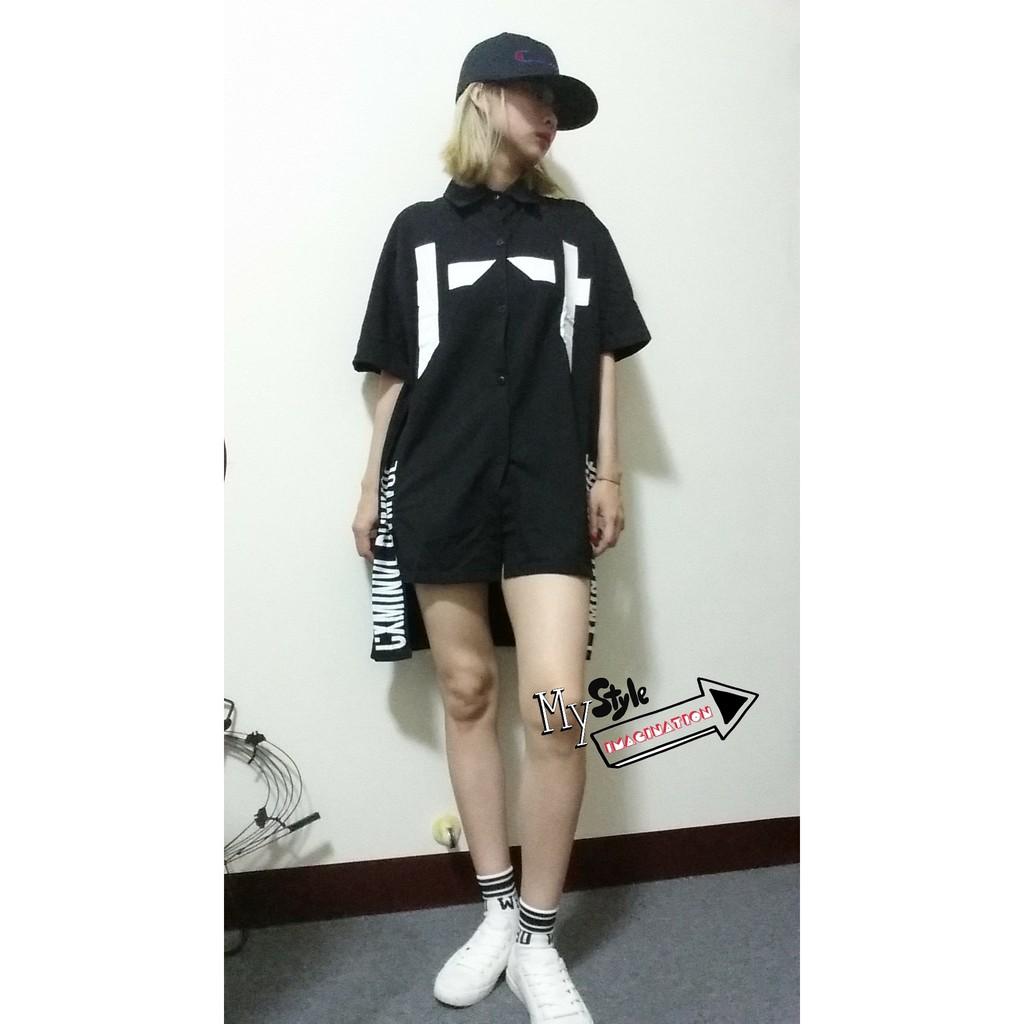 5 折韓國ulzzang 原宿風下擺開叉中長款寬鬆短袖襯衫棉質T 恤兩色1600026