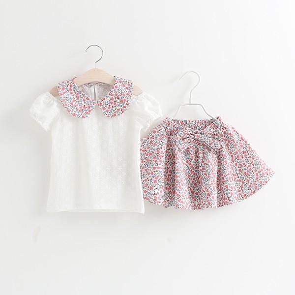 兒童露肩碎花短袖T 恤半身裙兩件套裝