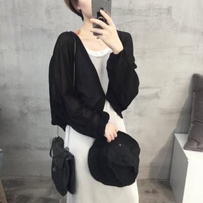 Black Market 耐看顯白復古色調冰絲棉麻質地蝙蝠袖防曬外套針織罩衫 四色