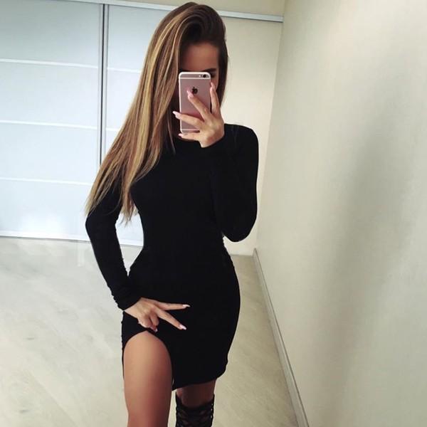 MCM AA 款 休閒棉質圓領修身顯瘦下擺性感小開叉長袖超彈性包臀連衣裙連身裙可外穿內搭