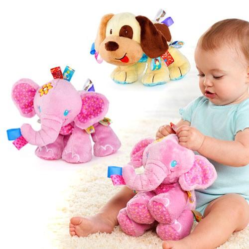 緞帶標籤粉紅象小狗狗寶寶安撫陪伴玩偶