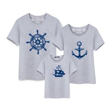 一家三口親子裝春夏裝全家裝純棉短袖T 恤加大碼母子裝船舵船錨