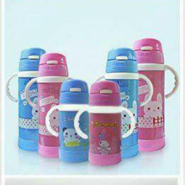 兒童保溫杯帶吸管杯不銹鋼保溫壺寶寶飲水杯帶手柄防漏 360c c 粉紅色
