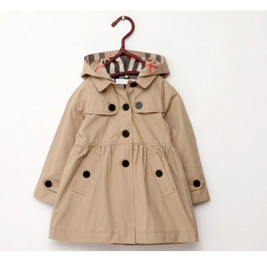 女童春 裝加厚外套英倫風衣小中大童風衣外套卡其色