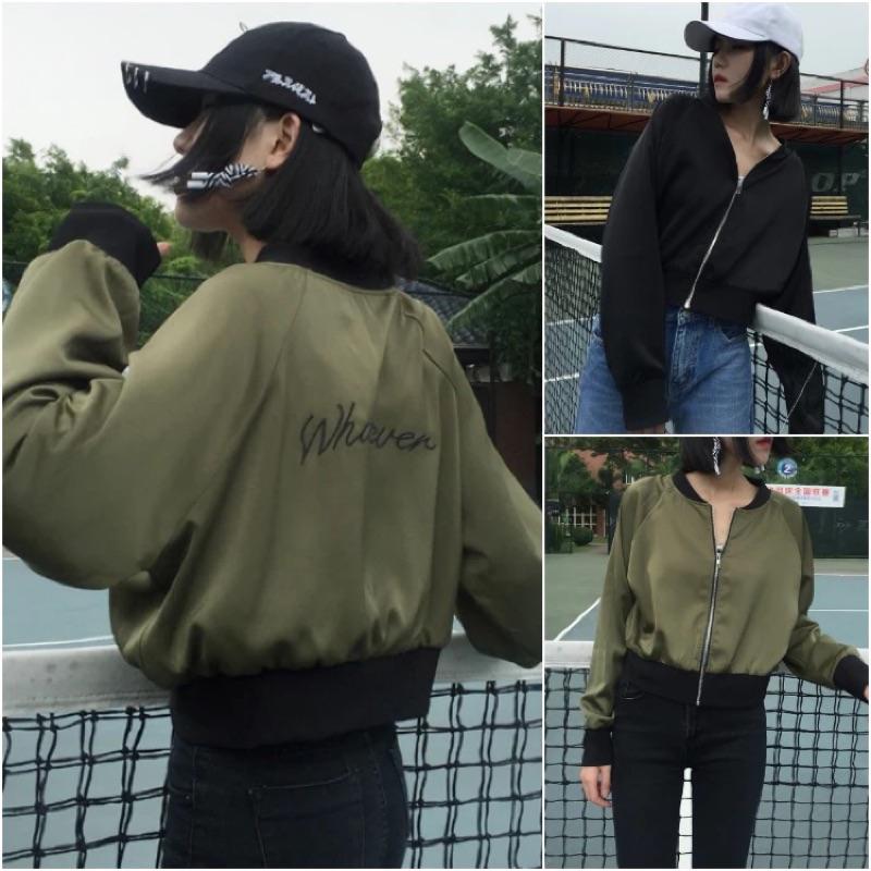 新品✨電繡薄款短版棒球外套