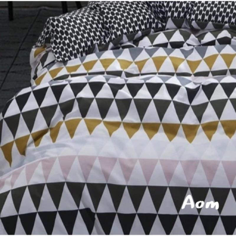 寬幅235cm 北歐風幾何三角 春夏薄款全棉質料床單被套枕套抱枕嬰兒床組床品民宿用布居家佈