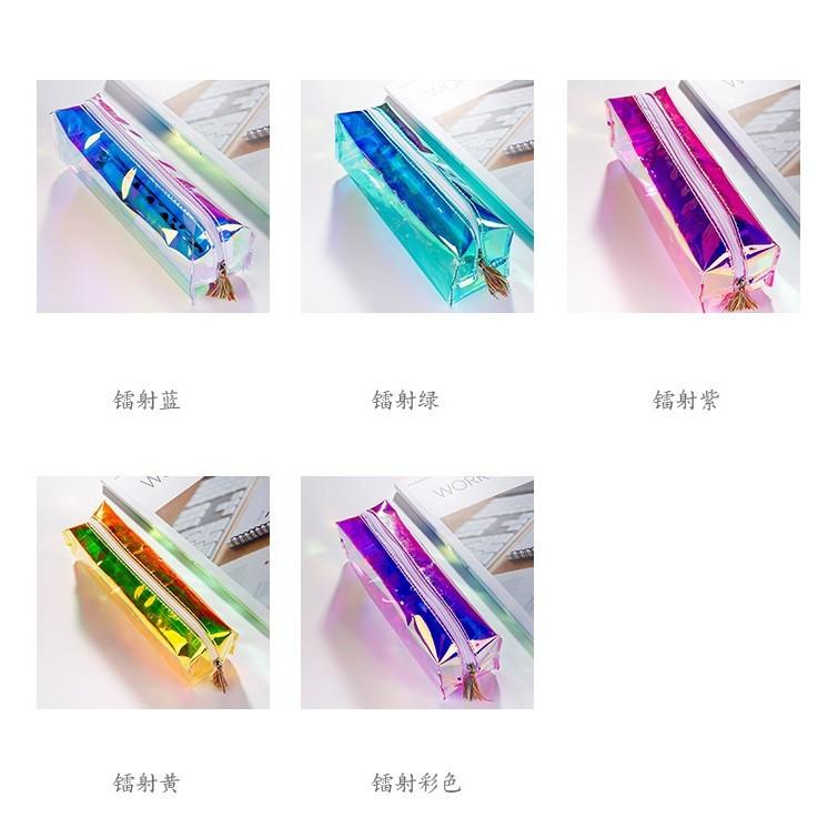 透明學生文具袋收納包化妝包高 透明雷射彩色流蘇雷射筆袋鉛筆盒