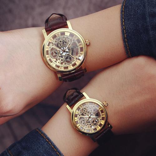 W011 機械 皮帶雙面鏤空腕錶 簡約 情侶手錶情侶錶對錶男錶女錶中性錶