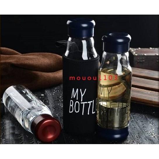 My Bottle 高硼矽強化玻璃杯高耐熱玻璃瓶附茶濾網茶漏泡茶杯冷水壺隨身瓶附潛水布保溫
