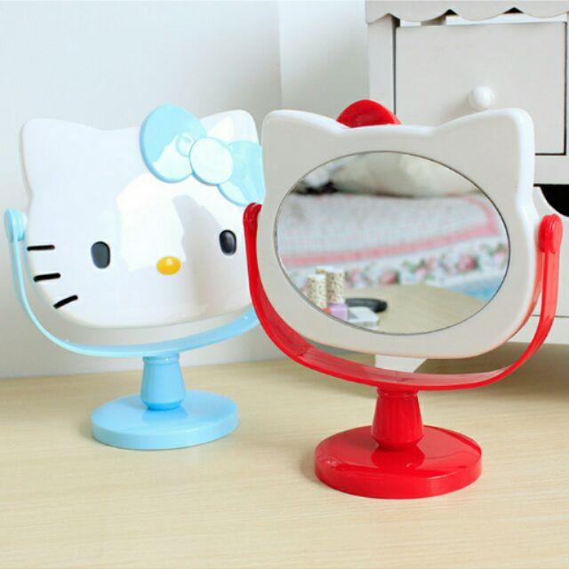 粉紅玫紅Kt 貓化妝鏡美容鏡子KT 卡通手柄鏡梳妝鏡