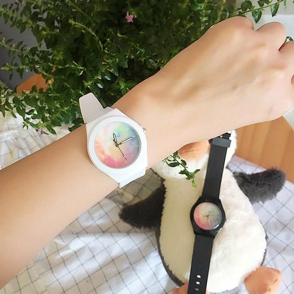 ~ ~韓國原宿透明星空手錶小清新彩虹學生石英表矽膠錶帶情侶錶女