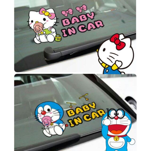 ~ ~汽車貼紙Kitty 哆拉A 夢Baby in car 改造車貼寶寶在車內後擋風玻璃防