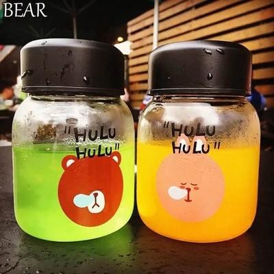 大米米雜貨 韓國Hulu 呼嚕熊兔玻璃情侶對杯玻璃杯寬口杯廣口杯隨手杯隨行杯