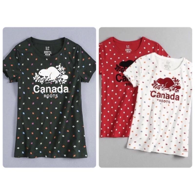 款Roots 專櫃在售 國慶款滿版楓葉女款圓領短袖T 恤