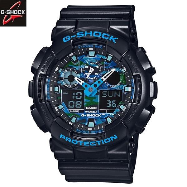 秀CASIO 手錶G SHOCK 藍x 黑酷炫配色 指針 雙顯GA 100CB 1A 耐衝
