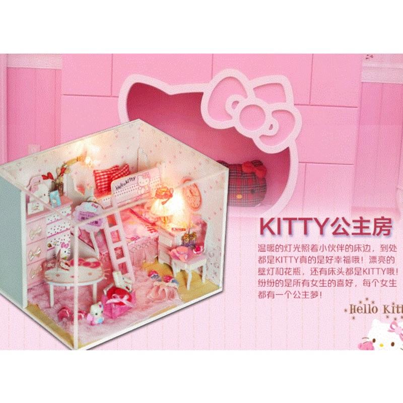當天出貨A 002 kitty 公主房  !DIY 手作小屋!袖珍屋娃娃屋! 藝模型屋