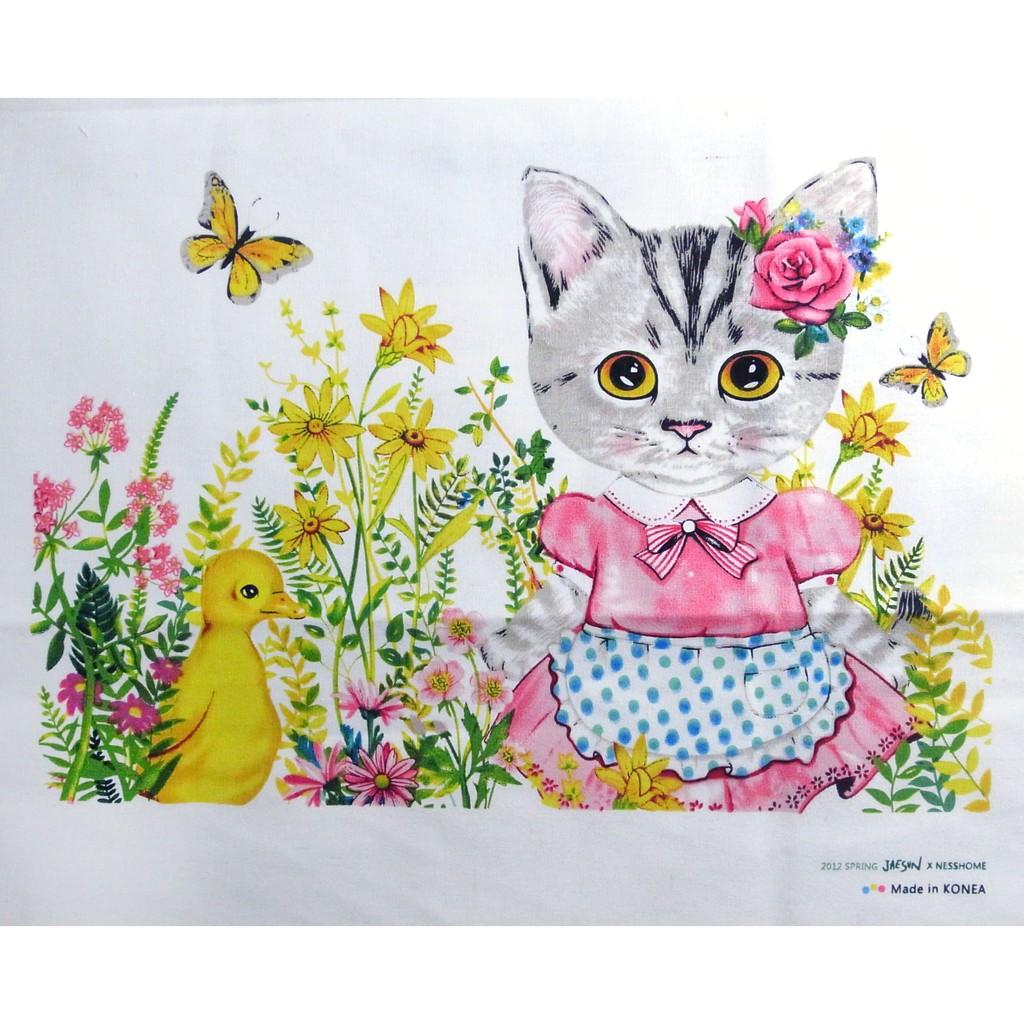 韓國 花園貓咪定位棉麻布拼布˙手作˙桌布˙背景˙桌布˙棉麻˙露營˙野餐C3