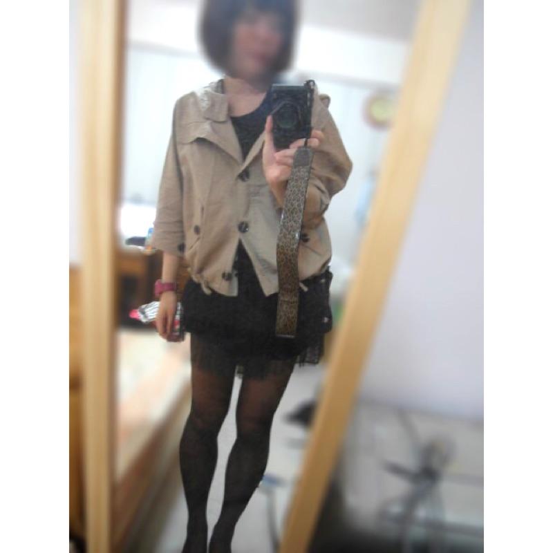 卡其飛鼠七分袖外套罩衫可愛日系潮流遮陽薄外套短版 連帽兩穿連帽外套