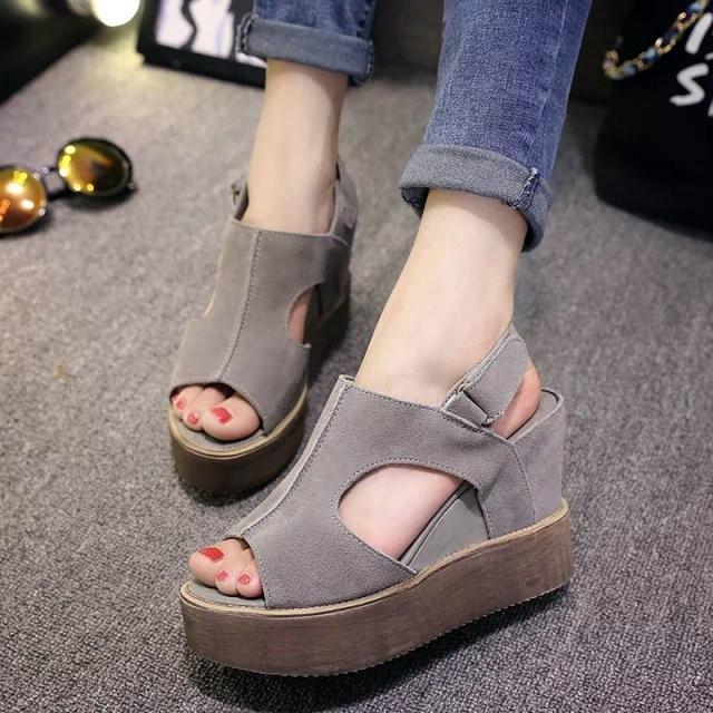 厚跟涼鞋英倫 坡跟魚嘴涼鞋女夏厚底高跟鞋平底鬆糕底女鞋子潮