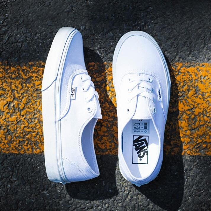 Vans Authentic 範斯 款帆布鞋萬斯全白平底鞋小白鞋范斯復古潮鞋低幫純白男女鞋