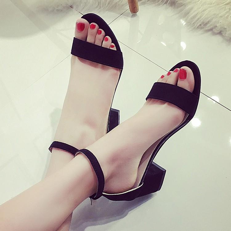 2016 涼鞋女夏中跟粗跟高跟黑色壹字扣羅馬鞋性感魚嘴露趾低跟涼鞋