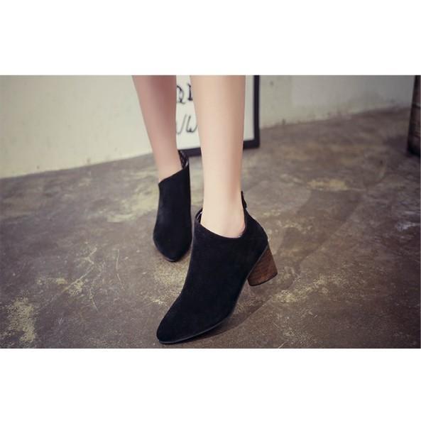 204 014  短靴裸靴高跟鞋尖頭粗跟馬丁靴35 黑色